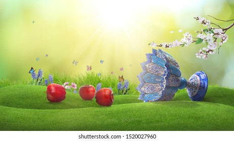 Happy Nowruz greeting card with green grass, blossom, red apple (one of the 7 symbols of Iranian new year), Hyacinths, butterfly and traditional Iranian cup. Frame with sunny day in spring.