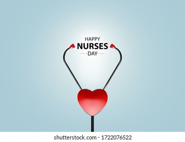Happy Nurses day concept. heart with medical stethoscope. gray background. 3r rendering.