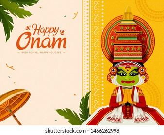 Happy Onam festival with Kathakali dancer and umbrella elements