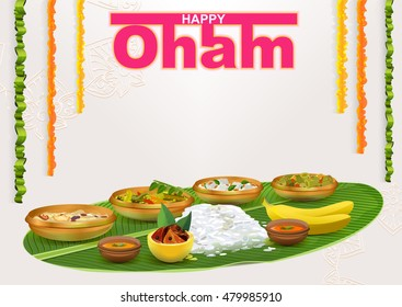 Happy Onam. Food for hindu festival in Kerala. Template illustration for greeting card