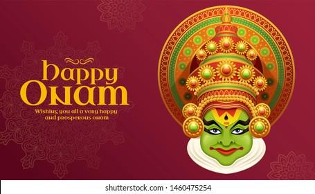 Happy Onam Kathakali illustration on burgundy red background