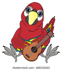 happy parrot play on the guitar