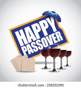 Happy Passover icon traditional matzoh and wine royalty free stock illustration for greeting card, ad, promotion, poster, flier, blog, article, social media, marketing