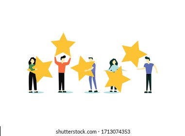 Happy people are holding review stars over their heads. Five stars rating. Customer review rating and client feedback concept. Modern illustration.