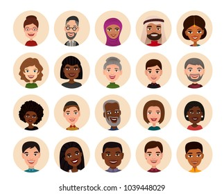 Happy people round avatar icon set illustration. Smiling men and women of different nationalities, people heads. Multicultural society concept, man and woman characters in national dress
