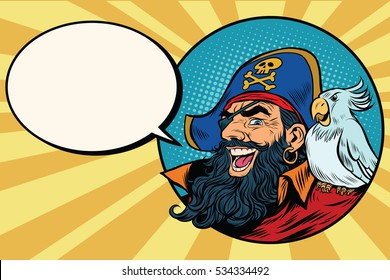 happy pirate with a parrot, pop art comic bubble, retro  illustration