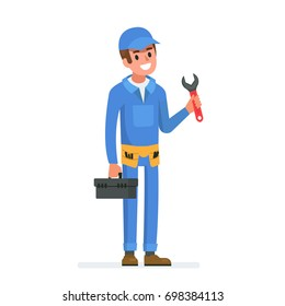 Happy plumber with wrench.  Flat style illustration isolated on white background.