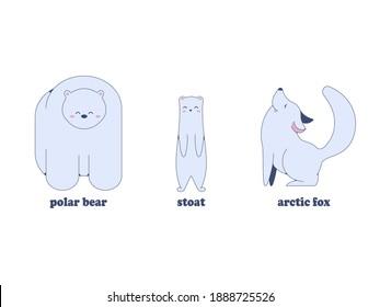 Happy polar bear, arctic fox and ermine. Image in jpeg format.