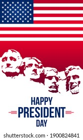 Happy President's day design background with USA Flag.Federal holiday in America.