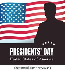Happy presidents day poster. Silhouette of the President illustration. Washington's Birthday and  presidents day