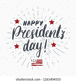 Happy President's Day Vintage USA greeting card, United States of America celebration. Hand lettering, american holiday grunge textured retro design illustration