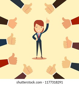 Happy and proud businesswoman with many thumbs up hands around him. Business compliment concept. illustration
