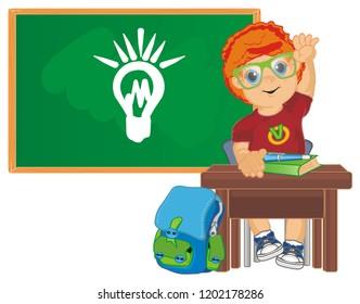 happy pupil at class room