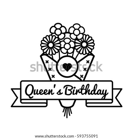 Happy queens birthday emblem isolated illustration stock happy queens birthday emblem isolated illustration on white background 10 june british holiday event label m4hsunfo