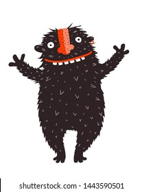 Happy Quirky Smiling Monster Character Cheer. Cartoon design of quirky monster graphics. Raster variant.