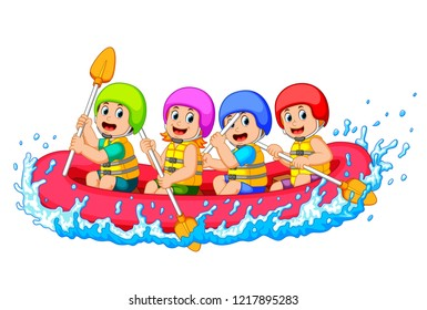 happy rafting team in a river