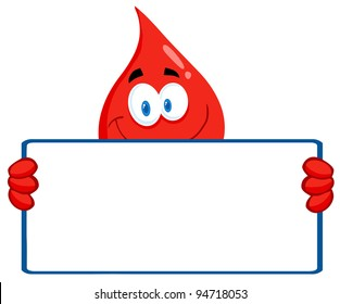 Happy Red Blood Drop Character Holding A Banner