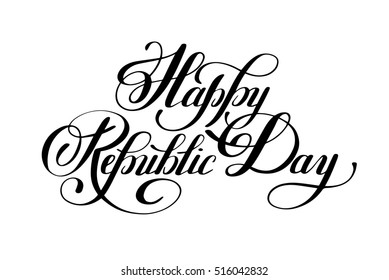 Happy Republic Day handwritten ink lettering inscription for indian winter holiday 26 January, calligraphy raster version illustration