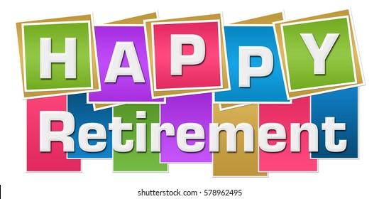 Happy Retirement Colorful Squares Stripes