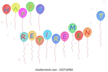 Happy retirement party balloons.With starbursts.White background.