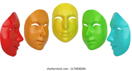 Happy and sad mask isolated on white background 3D illustration.