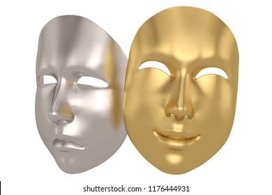 Happy and sad mask isolated on white background 3D illustration.