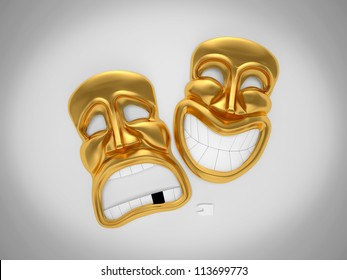 happy and sad theater mask without teeth