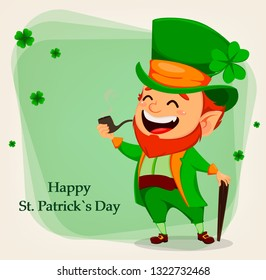 Happy Saint Patrick's Day. Cartoon character with green hat. Funny leprechaun holding smoking pipe and walking cane. Raster illustration
