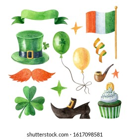 Happy Saint Patrick's Day watercolor clipart collection. Illustration isolated on white background. Traditional symbols of Saint Patrick's Day. Hand drawn clipart for greeting cards, invitations.
