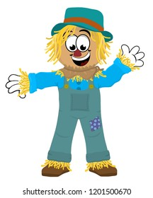 A happy scarecrow wearing green overalls with a blue patch waving hello.