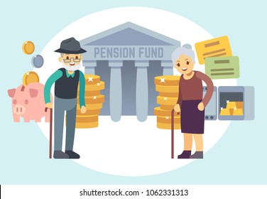 Happy senior old people saving pension money. Characters for retirement plan and personal finance program concept. Pension service, retirement planning investment illustration