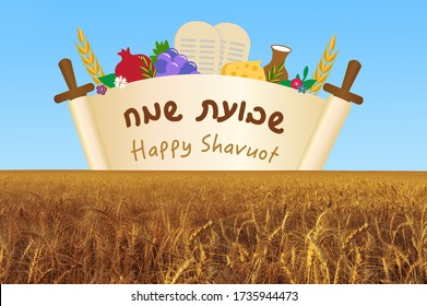 Happy Shavuot greeting card rising above wheat filed for the Jewish holiday of shavuot image illustration