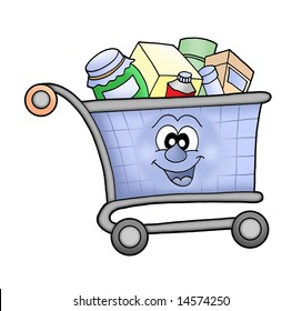 Happy shopping cart - color illustration.
