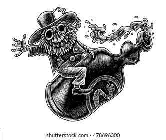 Happy skeleton in a hat smokes and hugging a bottle of alcohol . Graphic illustration comic, black background
