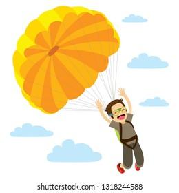 Happy skydiver man descending flying extreme parachuting sport on sky