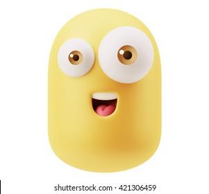 Happy Smiley Emoticon Face. 3d Rendering.
