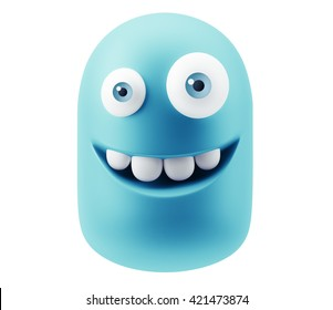 Happy Smiley Emoticon Face. 3d Rendering.
