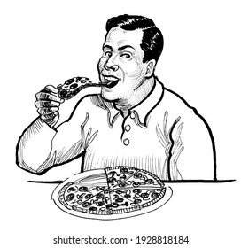 Happy smiling man eating a pizza. Ink black and white drawing
