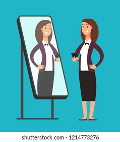 Happy smiling narcissistic confident businesswoman looking at reflection in mirror. Self love concept