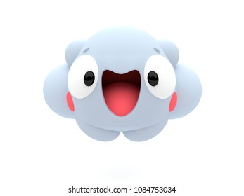 Happy smiling puffy cloud 3D cartoon character, cheerfully looking like an emoji, on an isolated white background.