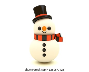 Happy smiling snowman Christmas character with hat and scarf. Merry Christmas and Happy New Year. 3D style illustration isolated on white background.
