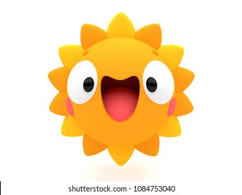 Happy smiling sun shining 3D cartoon character, like an emoji, on an isolated white background.