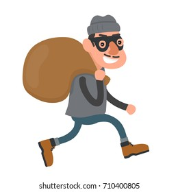 Happy smiling thief, robber runs with a bag. flat cartoon character modern style illustration icon drawing, Isolated on white background