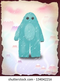 Happy snow monster walking on the snowy mountains digital illustration