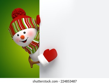 happy snowman behind blank banner, holiday background, 3d cartoon character illustration