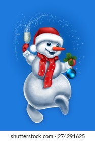 Happy Snowman Greeting Card Design