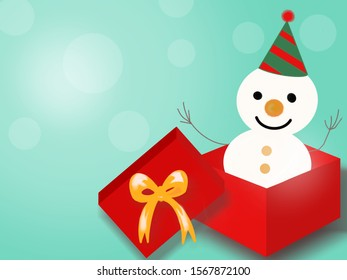 Happy snowman in red gift box. Christmas greeting card illustration with copy space.
