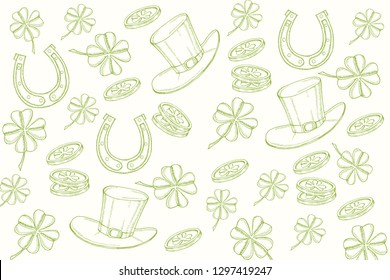 Happy St Patrick's day. Background with hand drawn symbols in sketch style  Engraving objects. Banner, flyer, brochure. background for holidays, postcards, websites