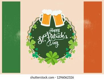 Happy St. Patrick's Day celebration background - Irish symbol, sign and beer