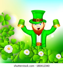 Happy St. Patrick's Day celebrations concept with young Happy leprechauns holding beer mugs on shamrock leaves background.